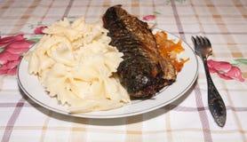 Fried scomber and macaroni Stock Photos