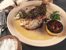 Fried sea bass. Roasted sea bass with beur Noir sauce and caramelized lemon royalty free stock photo