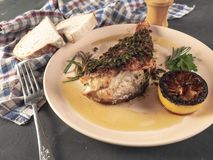 Fried sea bass. Roasted sea bass with beur Noir sauce and caramelized lemon stock photo