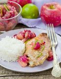 Fried sea perch with apple chutney Stock Photography