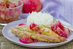 Fried sea perch with apple chutney Stock Images