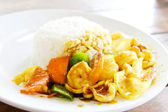 Fried seafood with curry powder Royalty Free Stock Photo
