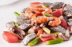 Fried seafood and fruit Royalty Free Stock Photography