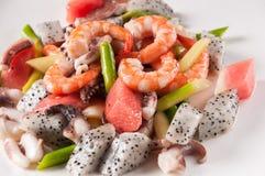Fried seafood and fruit Stock Photos