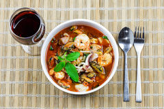 Fried seafood with  holy basil leaf and chilli Royalty Free Stock Photo