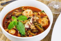 Fried seafood with  holy basil leaf and chilli Royalty Free Stock Images