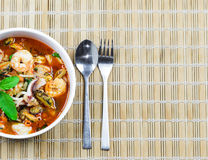 Fried seafood with  holy basil leaf and chilli Stock Photography