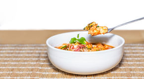 Fried seafood with holy basil leaf and chilli Stock Photos