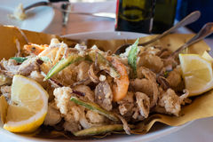 Fried Seafood Platter Royalty Free Stock Photography