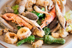 Fried seafood . Royalty Free Stock Photos
