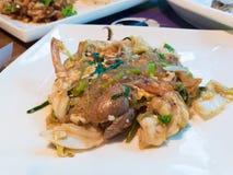 Fried Seafood Sukiyaki. On a plate Royalty Free Stock Photos