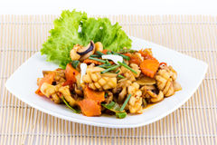 Fried seafood with vegetable Royalty Free Stock Image