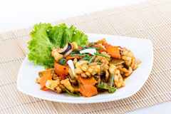 Fried seafood with vegetable Stock Images
