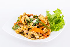 Fried seafood with vegetable Royalty Free Stock Photos