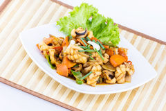 Fried seafood with vegetable Stock Photo