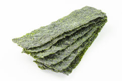 Fried seaweed on white background. Close up the fried seaweed on white background stock photo