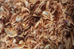 Fried shallot is Thai cooking ingredients. royalty free stock photo