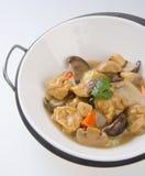 Fried shiitake, mushroom, tofu and carrot Stock Photos