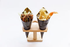 Fried Shirauo and Tempura California or Temaki Sushi Hand Roll on Wood Stand Stock Photography