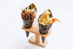 Fried Shirauo and Tempura California or Temaki Sushi Hand Roll on Wood Stand Stock Photo