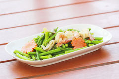 Fried shrimp with asparagus is a kind of Thai cuisine It is not Royalty Free Stock Photos
