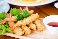 Free Fried Shrimp Ball Or Tempura Shrimps In Wood Stock Image - 106009301
