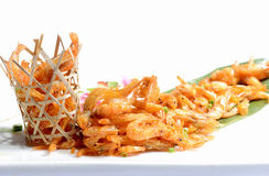 Fried Shrimp in a bamboo basket Royalty Free Stock Images