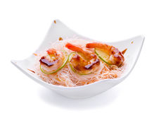 Fried shrimp with boiled noodles Royalty Free Stock Photo