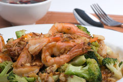 Fried shrimp and broccoli. Close up Stock Images
