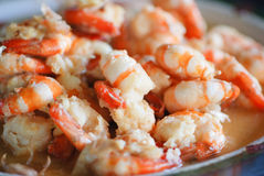 Fried shrimp in a Butter Sauce with Garlic pepper Stock Images
