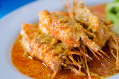 Fried shrimp in chili sauce Royalty Free Stock Images