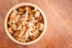 Fried shrimp chins snack in wooden bowl Royalty Free Stock Photo