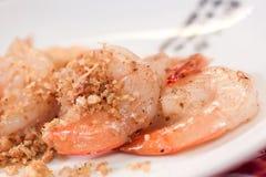 Fried Shrimp con aglio e pepe nero Fotografia Stock Libera da Diritti