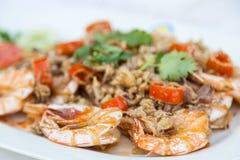 Fried Shrimp con la sal Fotografía de archivo libre de regalías