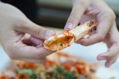 Fried Shrimp con la sal Fotos de archivo libres de regalías