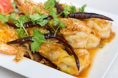 Fried Shrimp con la salsa del tamarindo Fotografie Stock