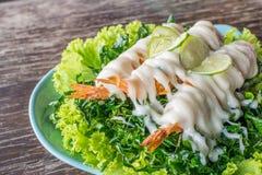 Fried Shrimp with cream salad and lemon Stock Photography