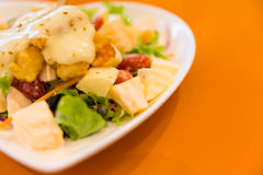 Fried shrimp with cream salad Stock Photography