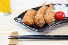 Fried shrimp and croquette Stock Image