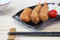 Fried shrimp and croquette Stock Images
