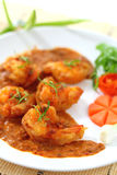 Fried prawn balls in red curry. Stock Photos