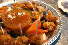 Fried Shrimp with dipping sauce royalty free stock photo