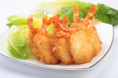 Fried shrimp drum sticks. Served on white plate Royalty Free Stock Photo