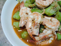 Fried Shrimp e zucchini Immagine Stock