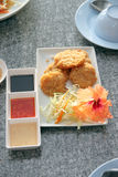 Fried shrimp of foods cake in white dish. Royalty Free Stock Photography