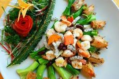 Fried shrimp and fruit Royalty Free Stock Image
