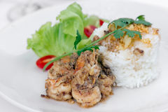 Fried shrimp with garlic and black pepper, serve with cooked ric Stock Photo