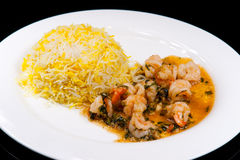 Fried shrimp in garlic and lime sauce Royalty Free Stock Images