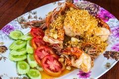 Fried shrimp with garlic Stock Photography