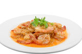 Fried shrimp with garlic on white dish Stock Photography